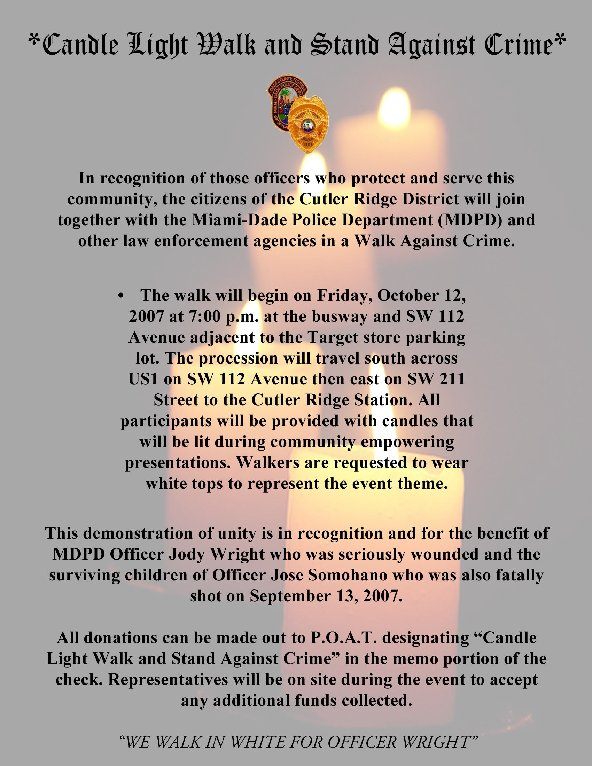 candlelight walk on October 12th
